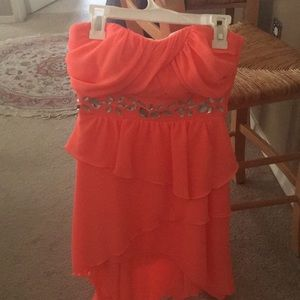 Tangerine color dress with sequin on top
